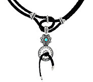 Sterling Silver Leather Neckace w/ Turquoise Enhancer by American West - J324083