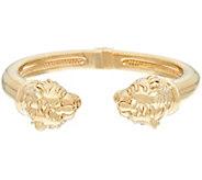 14K Gold Large Polished Lion Head Cuff Bracelet - J324883
