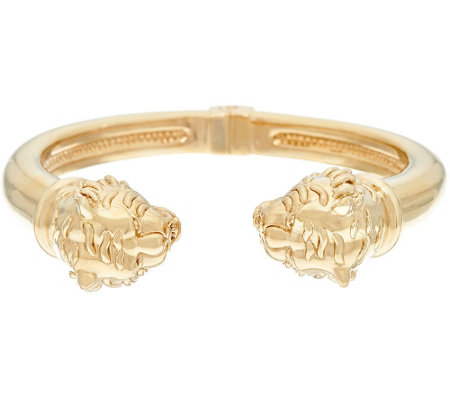 14K Gold Large Polished Lion Head Cuff Bracelet —