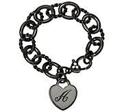 Judith Ripka Sterling Black Verona Initial Heart Bracelet 37.8g - J327583