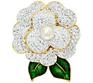 Joan Rivers Pave Gardenia Pin with Enamel Leaves - J327783