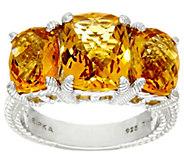 Judith Ripka Sterling 6.40 cttw Citrine 3-Stone Ring - J328083