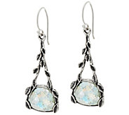Sterling Silver and Roman Glass Vine Design Earrings by Or Paz - J329383