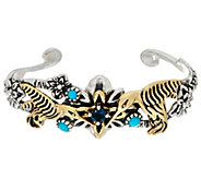 Sterling Silver & Brass Hummingbird Turquoise Cuff by Fritz Casuse - J330483