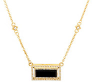 Judith Ripka Sterling & 14K Clad Onyx & Diamonique Necklace - J331983