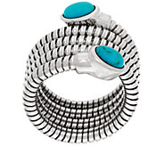 As Is Bronze Turquoise Tubogas Wrap Ring by Bronzo Italia - J333383