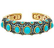 Judith Ripka Sterling/14K Clad Turquoise & Blue Topaz Cuff Bracelet - J334283
