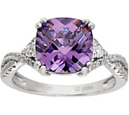 Diamonique and Simulated Amethyst Ring, Sterling - J335083