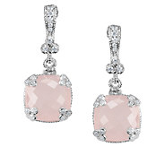 Judith Ripka Sterling 22.50cttw Rose Quartz Dangle Earrings - J336383