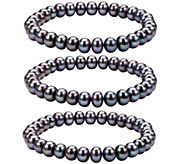 Honora Cultured Pearl Set of 3 7.0mm - 8.0mm St retch Bracelet - J336683