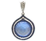 Judith Ripka Sterling Blue Doublet & Blue Diamonique Pendant - J337483