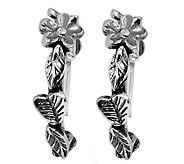 Or Paz Sterling Floral Design Hoop Earrings - J337583