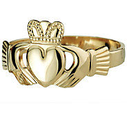 Solvar Deluxe Puffed Heart Claddagh Ring, 14K G old - J337983