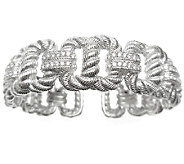 Judith Ripka Sterling Textured & Diamonique Lin k Cuff - J338283