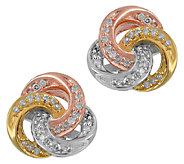 Diamond Knot Stud Earrings, 1/5 cttw, Tri-Color, by Affinity - J339383