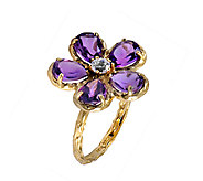 Adi Paz 2.90 cttw Amethyst & Crystal Flower Ring, 14K Gold - J339483