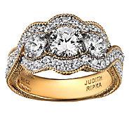 Judith Ripka Sterl./14K Clad 5.25cttw 3-Stone D iamonique Ring - J339683