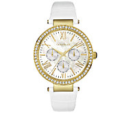 Caravelle New York Womens Crystal-Accent WhiteLeather Watch - J339783