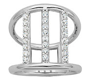 Diamonique Sterling 4/10cttw Triple-Bar Ring - J340783