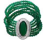 Judith Ripka Sterling Green Chalcedony Bead 7-3/4 Bracelet - J340883