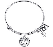 Extraordinary Life Sterling Floral Love Charm Bangle - J340983