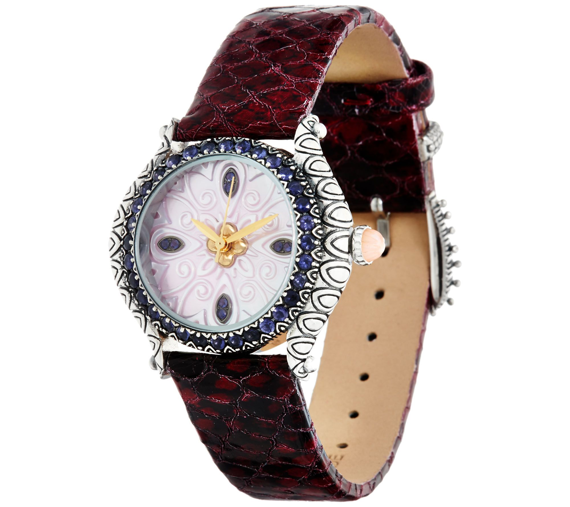 Barbara Bixby Carved Mother of Pearl & Iolite L eather Watch