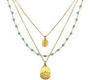 Satya Turquoise, Hamsa, & Lotus 3-Strand Necklace - J342783