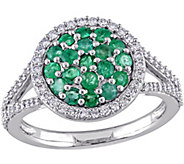0.75 cttw Emerald & 3/8 cttw Diamond Ring, 14KGold - J344083