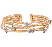 Sterling Silver or 14K Gold-Plated Crystal Multi-Cuff Bracelet - J344283
