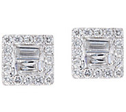 Baguette & Round Diamond Stud Earrings, 14K, 8/10 cttw by Affinity - J347683