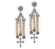 Sterling Silver Cultured Pearl & Cross Dangle Earrings by American West - J347783
