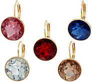 Joan Rivers Set/5 Faceted Round Lever Back Earrings - J347883