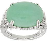 Judith Ripka Sterling Silver Oval Green Jade Cabochon Ring - J349783