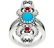 American West Turquoise & Coral Naja Sterling Silver Ring - J351783