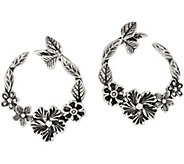 Or Paz Sterling Silver Floral Front to Back Hoop Earrings - J354983