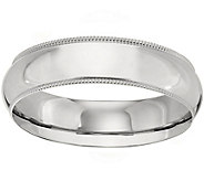 Mens 14K White Gold 6mm Milgrain Wedding Band - J375583