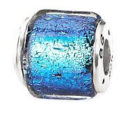 Prerogatives Sterling Dark Blue Dichroic GlassSquare Bead - J113384