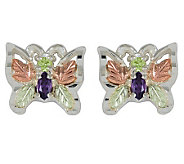 Black Hills Gemstone Butterfly Earrings, Sterli ng/12K - J113984