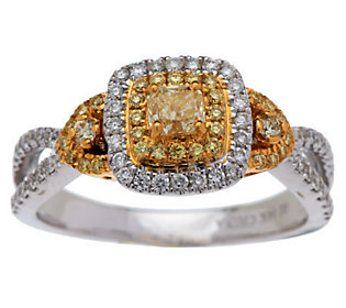 Product image of Cushion Cut Yellow Halo Diamond Ring, 14K, 8/10 cttw by Affinity