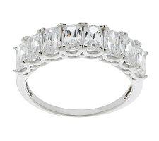 Epiphany Diamonique Emerald Cut Band Ring