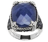 Judith Ripka Sterling 1.85ct Gemstone Monaco Sapphire Ring - J290584