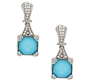 Judith Ripka Turquoise Doublet and Diamonique Earrings - J295484