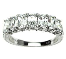 Judith Ripka Sterling Diamonique 7-Stone Ring