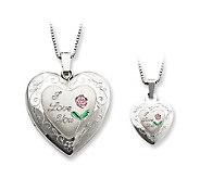 Sterling I Love You Heart Locket & Childs Pendant Set - J312084