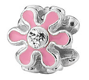 Prerogatives Sterling Pink Flower with Swarovski Crystal Bead - J312784