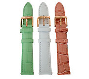 Bronzo Italia Croco-Embossed Leather Straps - Pink/Green/Whit - J313884