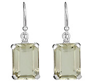Sterling Emerald-Cut Green Amethyst Drop Earrings - J314084