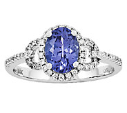 1.45 cttw Oval Tanzanite 1/5 cttw Diamond Ring,14K White Gold - J315984