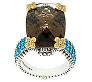 Barbara Bixby Sterling & 18K 15.90 cttw Smoky Quartz  & Apatite Ring - J321184