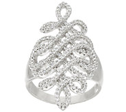 VicenzaSilver Sterling 9/10 cttw Diamonique Swirl Ring - J322784